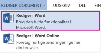 Skærmbillede af Word Online med Rediger i Word markeret