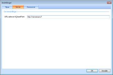 På fanen Server i indstillinger for Dashboarddesigner.