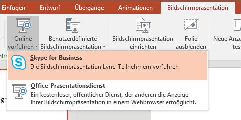 Zeigt die Option zum Onlinevorführen in PowerPoint.