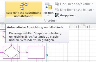 Schaltfläche 'Automatische Ausrichtung und Abstände'