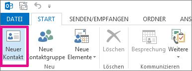 Schaltfläche 'Neuer Kontakt' auf der Registerkarte 'Kontakt'
