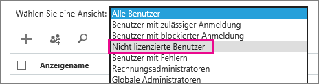 """Screenshot der Seite """"Aktive Benutzer"""" mit erweitertem Menü """"Ansicht"""" und hervorgehobener Option """"Nicht lizenzierte Benutzer""""."""
