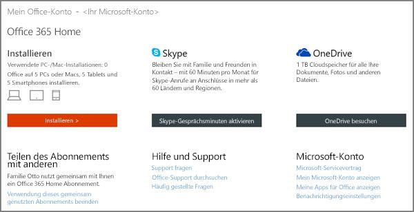 """Screenshot der Seite """"Mein Office-Konto"""""""