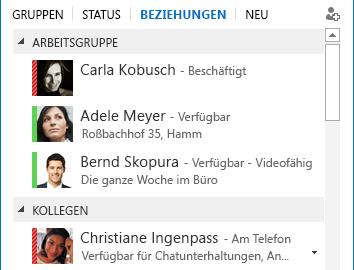 Screenshots zum Sortieren von Kontakten nach Beziehungen