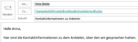 E-Mail mit Websitepostfach im Cc-Feld.