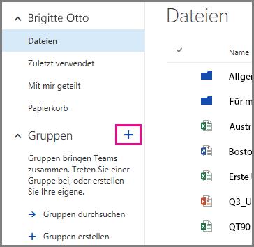 Screenshot: Erstellen einer Gruppe aus OneDrive for Business durch Klicken auf das Pluszeichen (+)