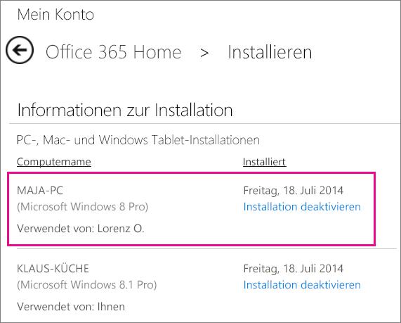 Screenshot der Installationsseite mit einem Computernamen und dem markierten Namen der Person, die Office installiert hat