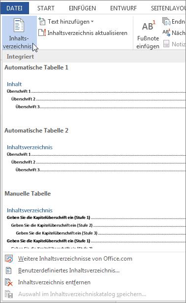 Erstellen eines inhaltsverzeichnisses word for Tabelle muster word