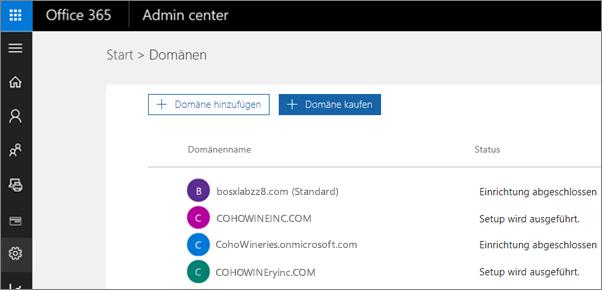 """Klicken Sie auf der Seite """"Domänen verwalten"""" auf """"Domäne kaufen""""."""