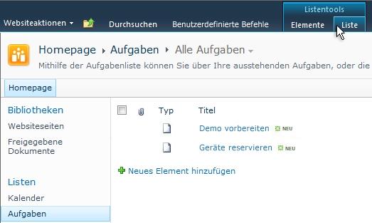"""Die Registerkarte """"Liste"""" unter """"Listentools"""" auf einer SharePoint-Website"""