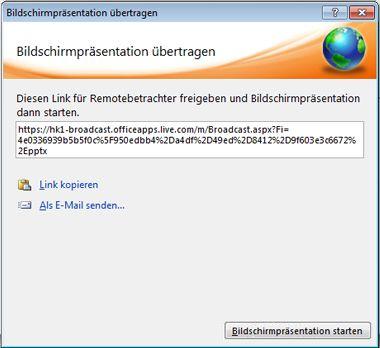 Dialogfeld 'Bildschirmpräsentation übertragen' mit der URL für eine Bildschirmpräsentation