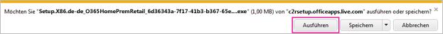 """Abbildung der Schaltfläche """"Ausführen"""", auf die Sie klicken, um die Installation zu starten"""