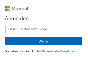Melden Sie sich bei Office mit einem Microsoft-Konto-e-Mail-Adresse und das Kennwort
