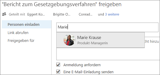 Screenshot der Freigabe einer Datei in OneDrive for Business