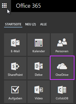 Mithilfe des App-Startfelds in Office 365 zu OneDrive for Business wechseln