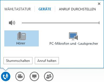 Screenshot der Steuerelemente für Audioanrufe