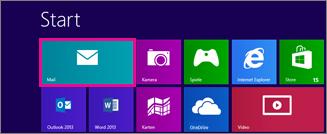 Windows 8-Startseite mit Mail-Kachel