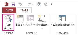 Schaltfläche 'App starten' auf der Registerkarte 'Start'.