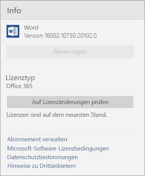Informationen zum Word Mobile-Fenster