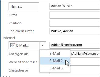 Hinzufügen einer weiteren E-Mail-Adresse für einen Kontakt