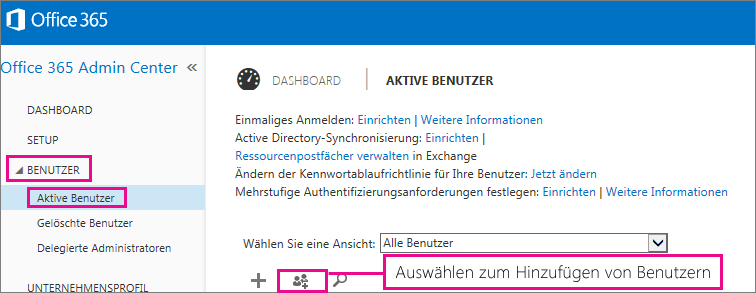 """Abbildung des Abschnitts """"Benutzer"""" im Office 365 Admin Center"""