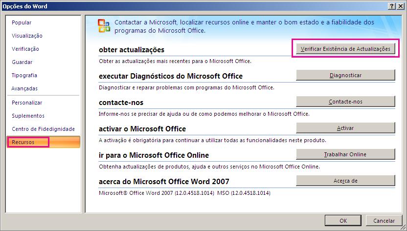 Überprüfen auf Office-Updates in Word 2007