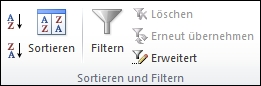 """Die Gruppe """"Sortieren und Filtern"""" auf der Registerkarte """"Daten"""""""