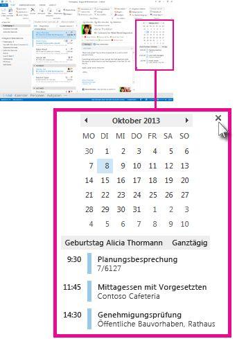 Befehl 'Popup entfernen' auf dem angehefteten Kalenderpopup