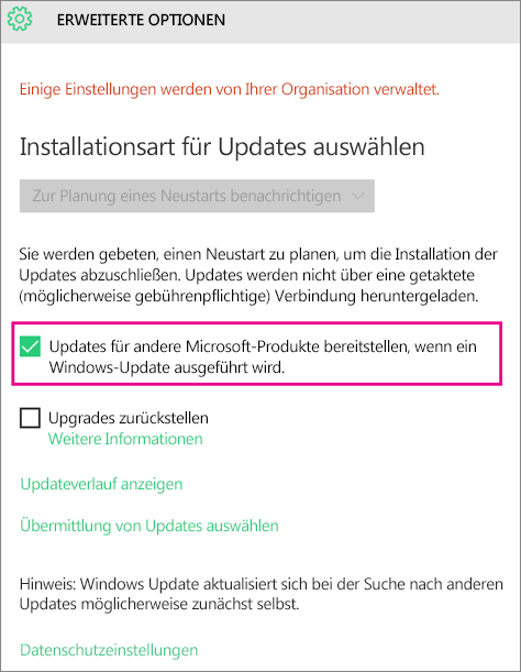 'Erweiterte Optionen' von Windows Update