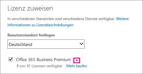 """Screenshot des Menüs """"Lizenz zuweisen"""" mit der reduzierten Dienstliste. Der Abwärtspfeil ist hervorgehoben."""
