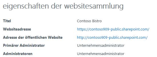 Eigenschaften der Websitesammlung für die öffentliche Website