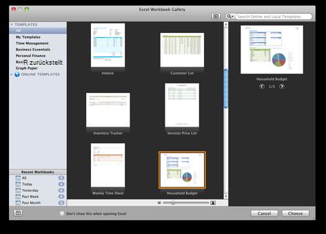 Excel-Arbeitsmappenkatalog