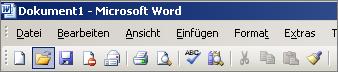 Hauptmenü in Word 2003
