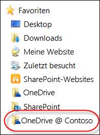 Synchronisierter OneDrive for Business-Ordner in den Favoriten im Datei-Explorer