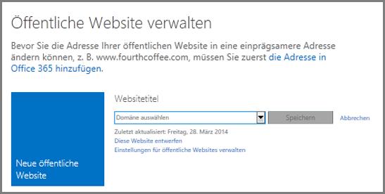 """Dialogfeld """"Öffentliche Website verwalten"""" mit dem Link """"Domäne auswählen"""""""