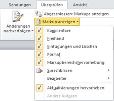 Liste der Optionen von 'Markup anzeigen'