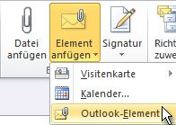 Attach Outlook Item command on the ribbon