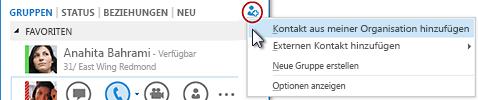 """Klicken Sie im Hauptfenster von Lync auf die Schaltfläche """"Kontakt hinzufügen""""."""
