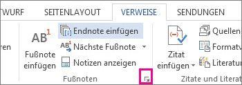Öffnen des Dialogfelds 'Fußnote und Endnote'