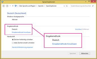 Office 2016 unter Windows 8 – Eingabemethode hinzufügen