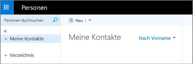 """Eine Abbildung, die zeigt, wie die Seite """"Personen"""" in Outlook Web App aussieht"""