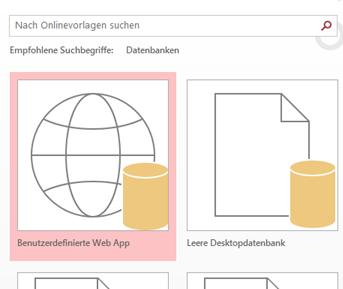 Schaltfläche 'Benutzerdefinierte Web App' auf dem Startbildschirm