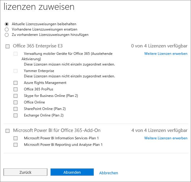 """Screenshot der Seite """"Lizenzen zuweisen"""", die angezeigt wird, wenn Sie Lizenzen für mehrere Benutzer gleichzeitig hinzufügen oder ersetzen"""
