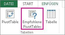 """""""Empfohlene PivotTables"""" auf der Registerkarte """"Einfügen"""" in Excel"""