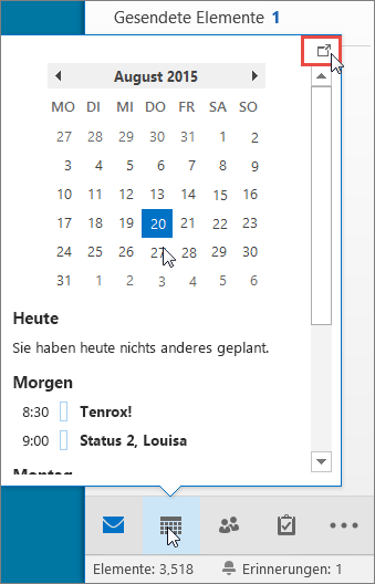 Kalenderpopup mit angezeigtem Andocken-Symbol