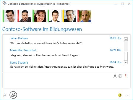 Screenshot von beständigem Chat mit 6 Teilnehmern