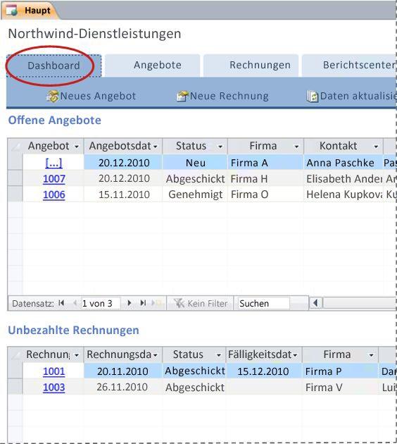 Registerkarte 'Dashboard' der Datenbankvorlage 'Dienstleistungen'