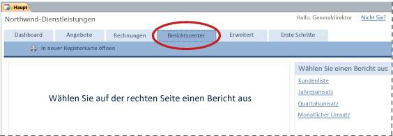 Registerkarte 'Berichtscenter' der Datenbankvorlage 'Dienstleistungen'