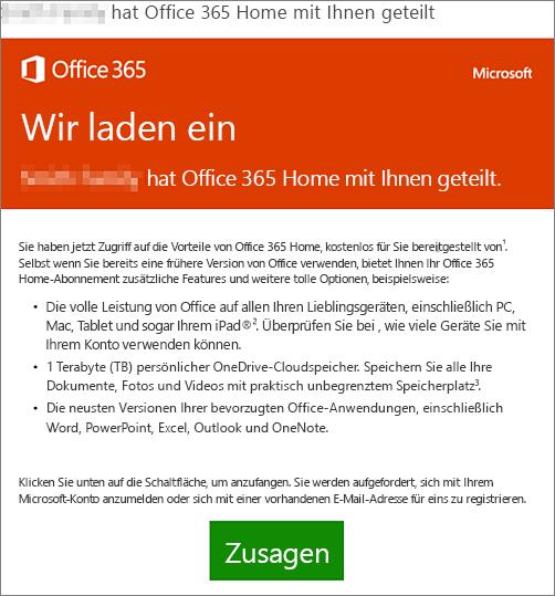 E-Mail-Ankündigung, dass jemand Office 365 Home mit Ihnen geteilt hat.