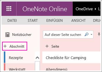 Screenshot zum Erstellen eines neuen Abschnitts in OneNoteOnline